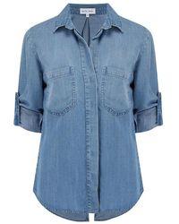 Bella Dahl Split Button Down Shirt - Blauw