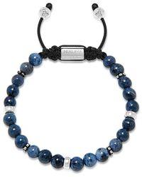 Nialaya Mannen Kralen Armband Met Blauw Dumortierite En Zilveren - Grijs