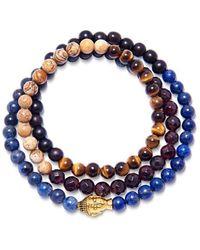 Nialaya Wrap-around Bracelet With Blue Lapis, Jasper, Brown Tiger Eye, Garnet And Gold Buddha - Zwart
