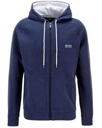 BOSS by Hugo Boss Double-face melange hoodie - Bleu
