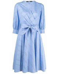 Karl Lagerfeld Logo Embroidered Shirt Dress - Blauw