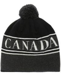 Canada Goose Wool Hat With A Logo - Zwart