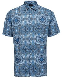 SELECTED Shirt Met Korte Mouwen - Blauw