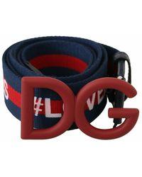 Dolce & Gabbana Textile Logo Buckle Belt - Blauw
