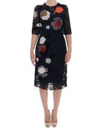Dolce & Gabbana Floral Lace Floral Sicily Dress - Nero