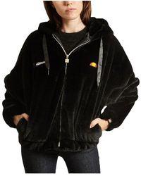 Ellesse Giovanna Faux Fur Jacket - Zwart
