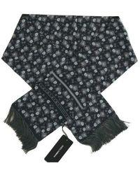 Dolce & Gabbana Silk Floral Print Scarf - Blauw