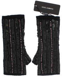 Dolce & Gabbana Gants tricotés en cachemire à paillettes - Noir
