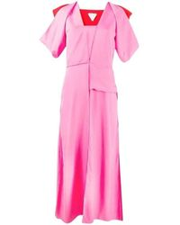 Bottega Veneta Midi Puff Sleeves Midi Dress - Roze