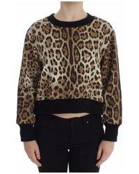 Dolce & Gabbana Leopard Print Crewneck Short Sweater - Marrone