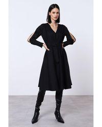 Imperial Robe avec ceinture et manches fendues Negro