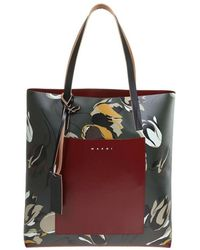 Marni Shopping Bag In Leather With Flower Print - Bruin