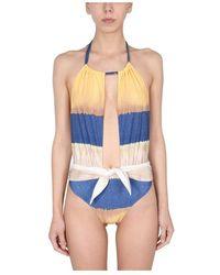 Alberta Ferretti One piece swimsuit with tie dye print - Neutro