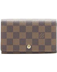 Louis Vuitton Portafoglio piccolo Damier Ebene Flap Canvas - Marrone