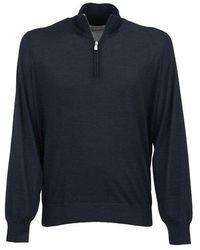 Brunello Cucinelli Cashmere e seta dolcevita maglione con zip - Blu