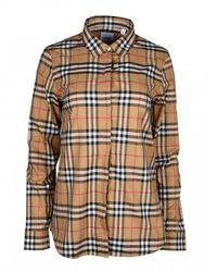 Burberry Geruit Overhemd - Bruin