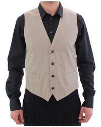 Dolce & Gabbana Silk Blend Dress Formal Vest Gilet - Natur
