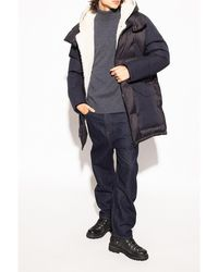 Yves Salomon Down jacket with leather insert Azul
