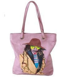 John Galliano Printed Handbag Shoulder Purse Tote Borse Leather Bag - Rose