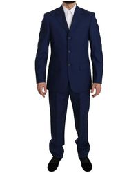 Romeo Gigli Blue Solid 100% Wool Two Piece 3 Button Suit - Blau