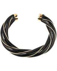 Aurelie Bidermann Diana Resin And Gold Plated Twisted Bangle Bracelet - Zwart