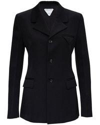 Bottega Veneta Single Breasted Wool Blazer - Zwart