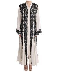 Dolce & Gabbana Silk Floral Lace Kaftan Dress - Zwart