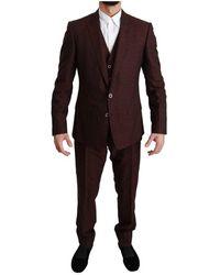 Dolce & Gabbana Maroon Brocade 3 Piece Martini Suit - Rood