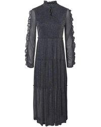 Noisy May Nmglam L / S Frill Long Dress - Nero