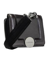 DIESEL Strapped de dos piezas billetera Negro