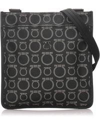 Ferragamo Gancini Canvas Crossbody Bag - Zwart