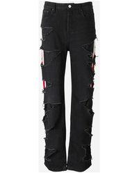 Balenciaga Slashed Relaxed-fit Jeans - Zwart