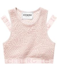 Iceberg Cropped top with logo - Rose