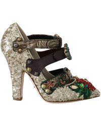 Dolce & Gabbana Crystal Studs Heels - Naturel