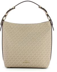 Michael Kors Lucy Medium Hobo Bag With Logo - Naturel
