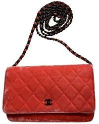 Chanel Vintage Wallet on chain en velours - Rojo