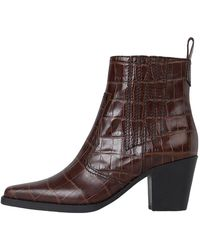 Ganni Western Leather Ankle Boots - Bruin