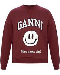 Ganni Branded Sweatshirt - Rood