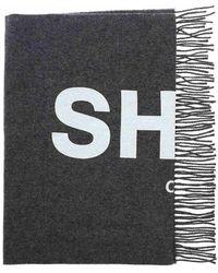 Comme des Garçons Logo print scarf - Gris