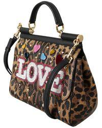 Dolce & Gabbana Leopard Leather Love Studded Sicily Bag Marrón