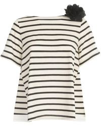 Seventy A Line Striped Short Sleeve Sweater With Flower - Naturel
