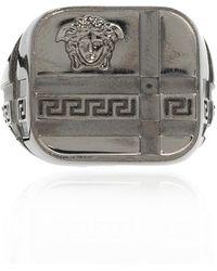 Versace Signet Ring With Medusa - Grijs
