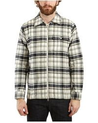Knowledge Cotton Apparel Check Quilted Zipped Jacket - Grau
