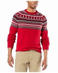 Dockers Sweater Alpha Chunky Fair Isle Pullover - Bleu