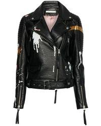 Zoe Karssen Ninouk Biker Jacket Handpainted - Schwarz