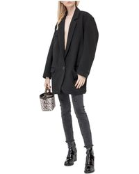 In the mood for love Oversized Blazer with Sequin Embroideries - Nero