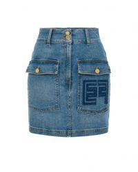 Elisabetta Franchi Jupe courte denim poches plaquées logo GJ 14D 11E2-192 - Blu