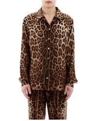 Dolce & Gabbana Leopard Pyjama Shirt - Braun