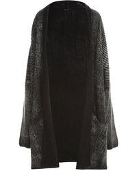 Avant Toi Braiding stitch over cardigan with frozen effect - Noir
