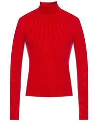 Balenciaga Ribbed Turtleneck Sweater - Rood